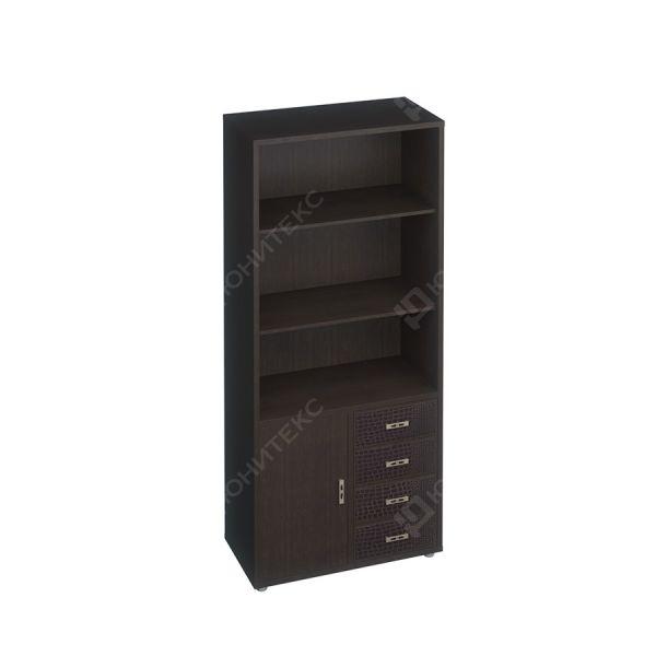 Шкаф для документов с кожаными фасадами, без стеклянных дверей