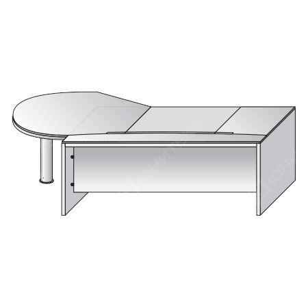 Письменный стол с фигурной правой приставкой