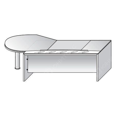 Письменный стол со стеклянной вставкой и фигурной правой приставкой