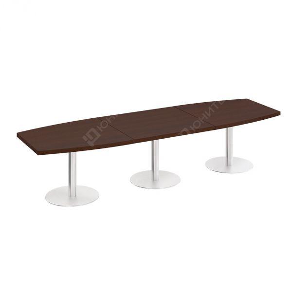 Длинный стол для переговоров ПР 144 на 3 опорах колоннах