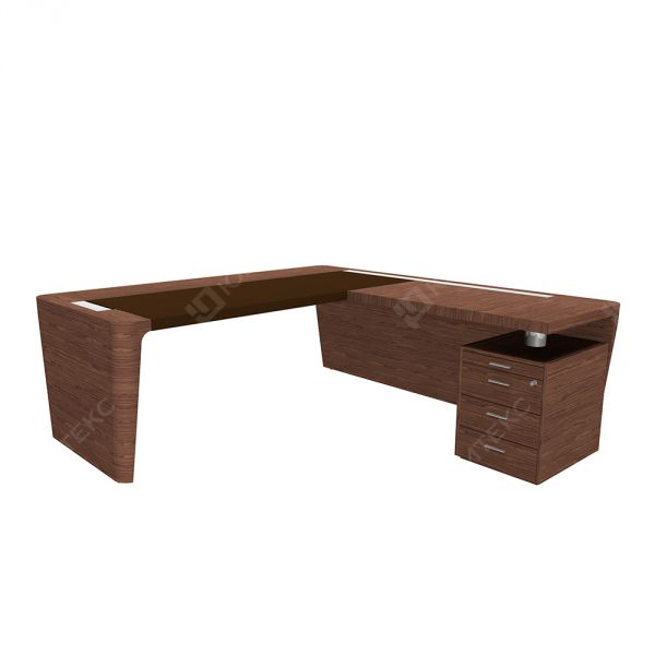 Стол руководителя c кожаным бюваром с приставкой