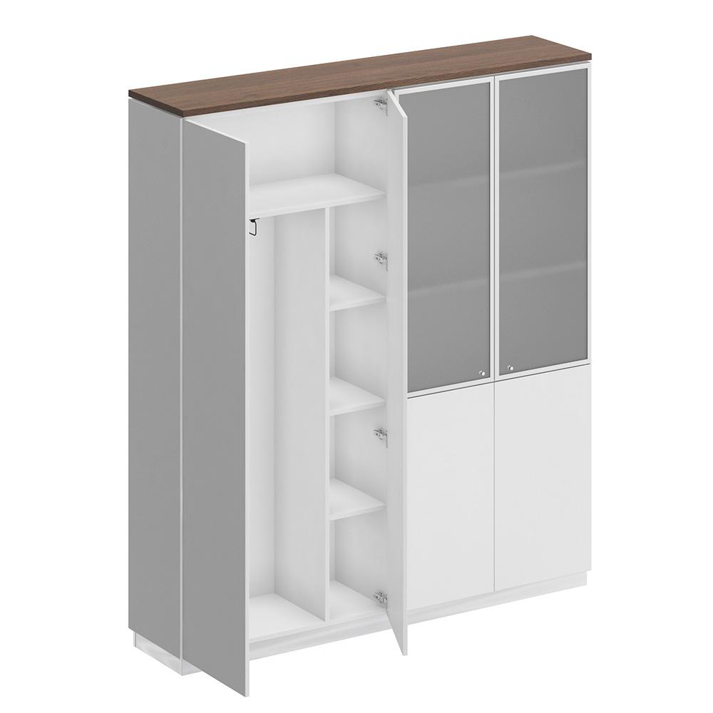 Шкаф комбинированный (документы со стеклом - одежда с дополнением)