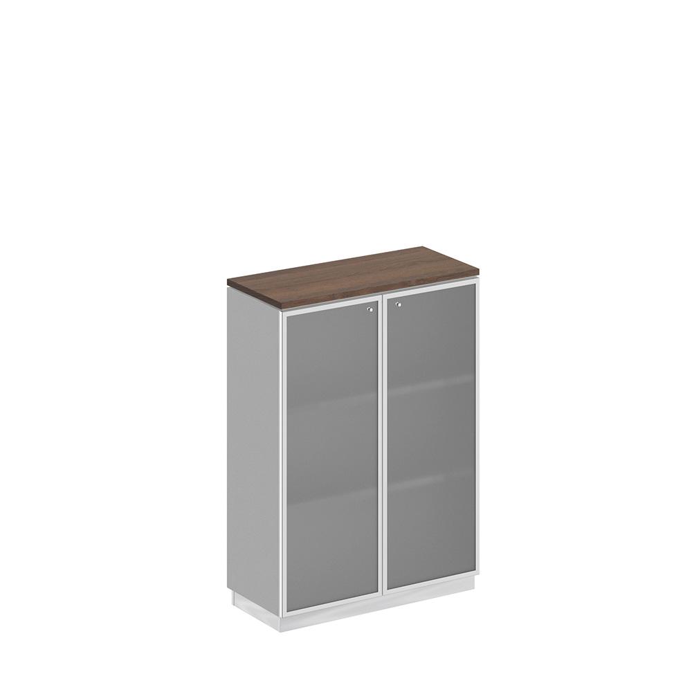 Шкаф для документов средний со стеклянными дверьми в рамке