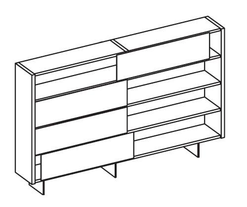 Шкаф книжный с раздвижными створками