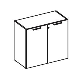 Шкаф низкий широкий с деревянными дверьми