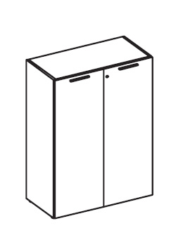 Шкаф средний широкий с деревянными дверьми