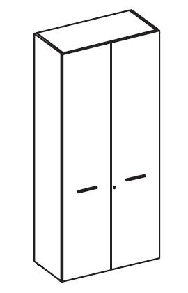 Шкаф высокий широкий с деревянными дверьми