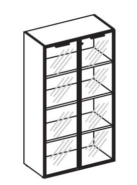 Шкаф средний широкий со стеклянными дверьми