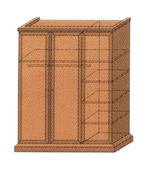 Шкаф для одежды 3-створчатый с антрессолью, полками и штангой для вешалок