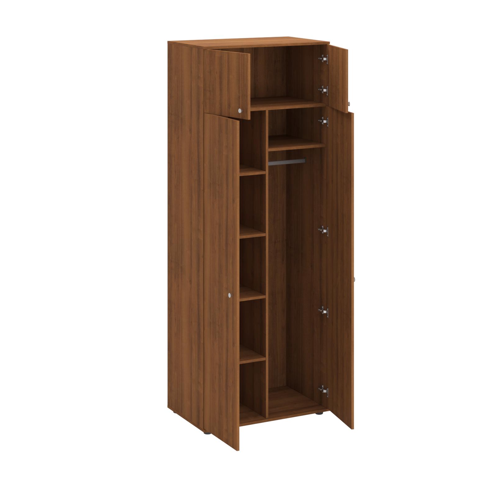 Шкаф комбинированный двухствочатый с антресолью (4 полки и штанга для вешалок)