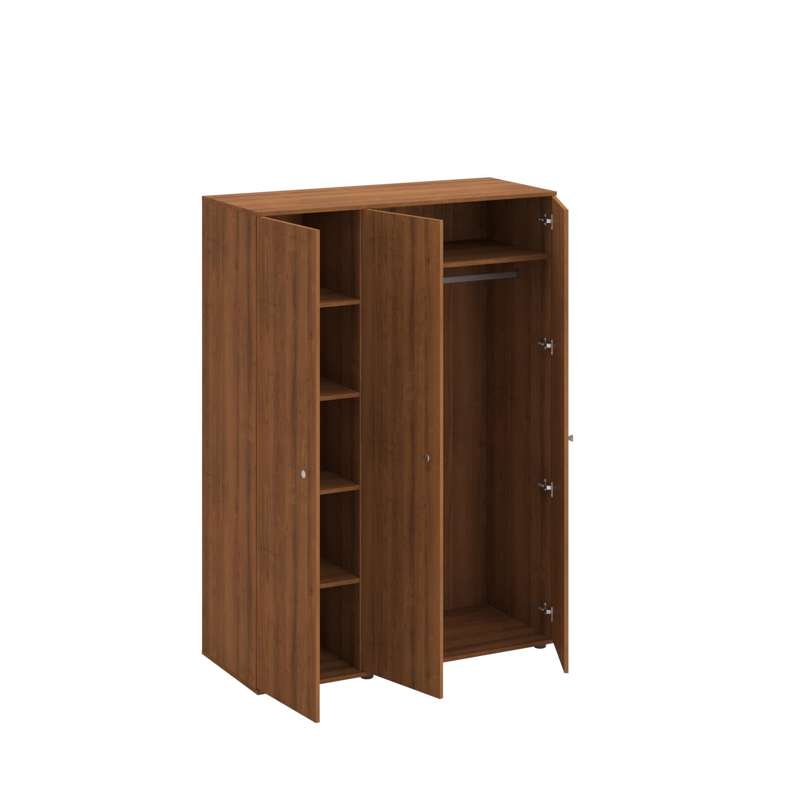 Шкаф для одежды 3-створчатый (4 полки, верхняя полка и штанга для вешалок)