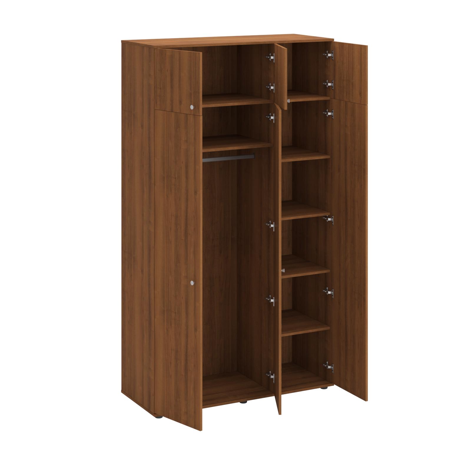 Шкаф для одежды 3-створчатый с антресолью (4 полки и штанга для вешалок)