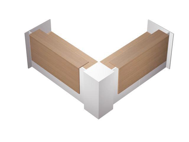 Стойка ресепшн угловая с 2 вырезами левая с подсветкой (26 Вт)