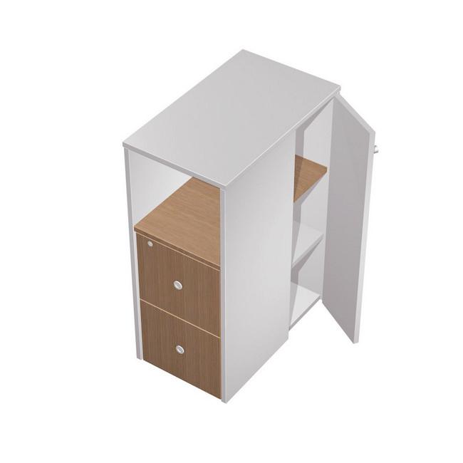 Тумба ресепшн 2-х ящичная М с нишей (2 файловых ящика) с замком с дополнением правая