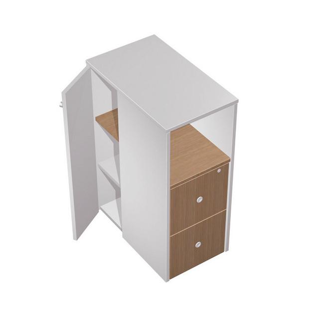 Тумба ресепшн 2-х ящичная М с нишей (2 файловых ящика) с замком с дополнением левая