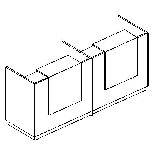 Стойка ресепшн прямая с промежуточной опорой (полка высокая)