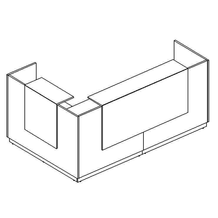 Стойка ресепшн угловая правая (полки высокие)