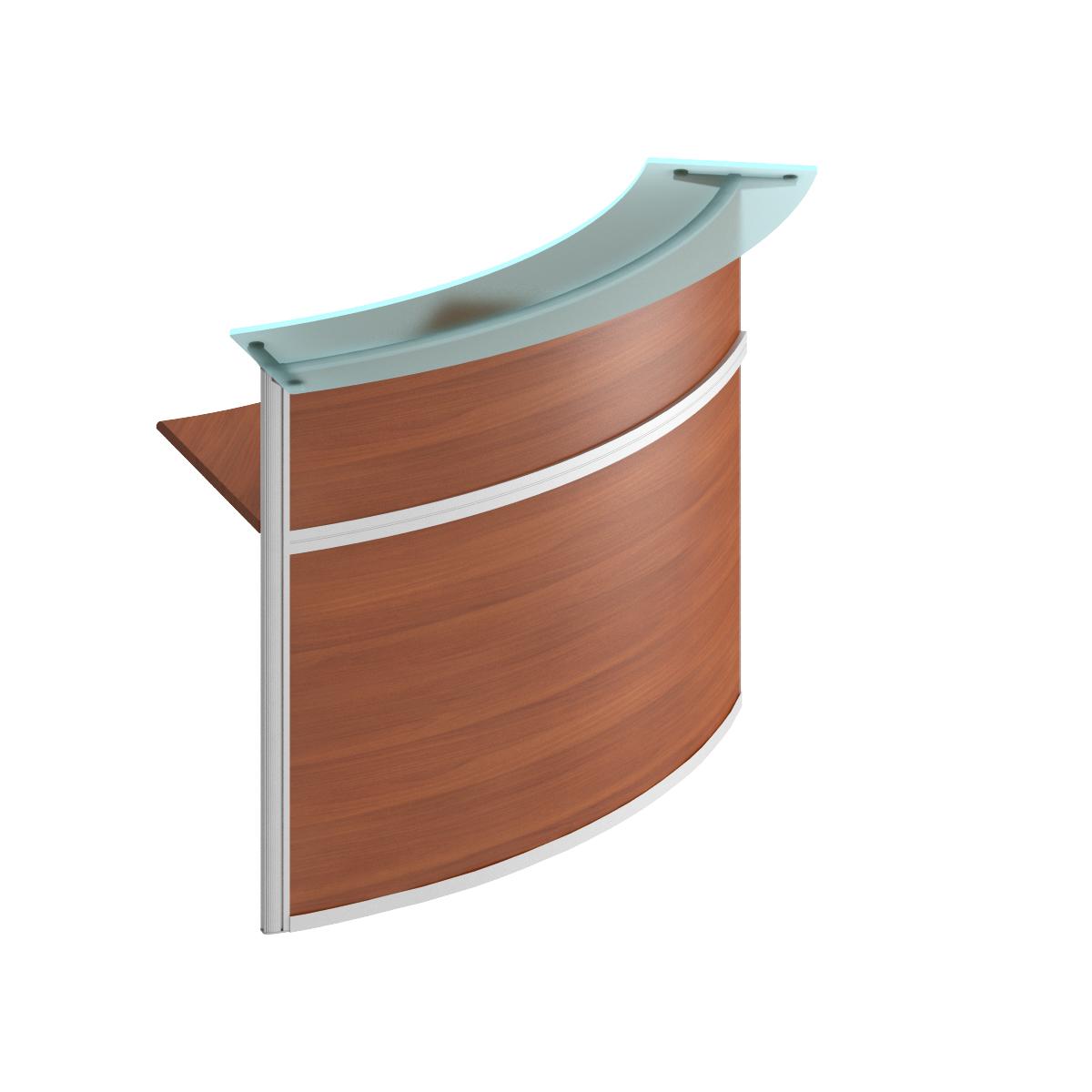 модуль стойки ресепшн со стеклом 60 градусов изогнутой наружу (без опор)