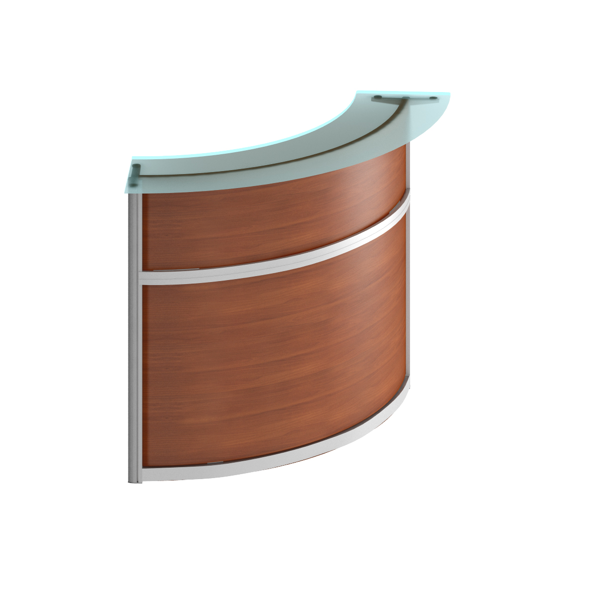Модуль стойки ресепшн со стеклом 90 градусов изогнутой наружу (без опор)