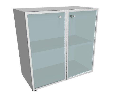 Шкаф высокий, стеклянная дверь белая, рама алюминий