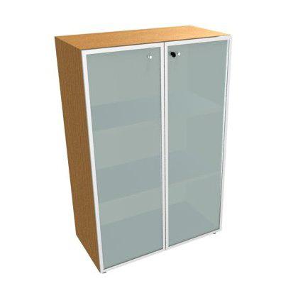 Шкаф низкий , стеклянная дверь белая, рама алюминий