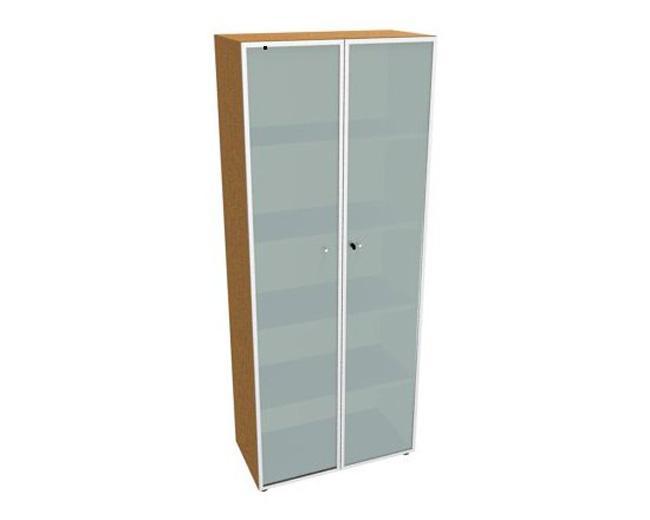 Шкаф средний, стеклянная дверь белая, рама алюминий