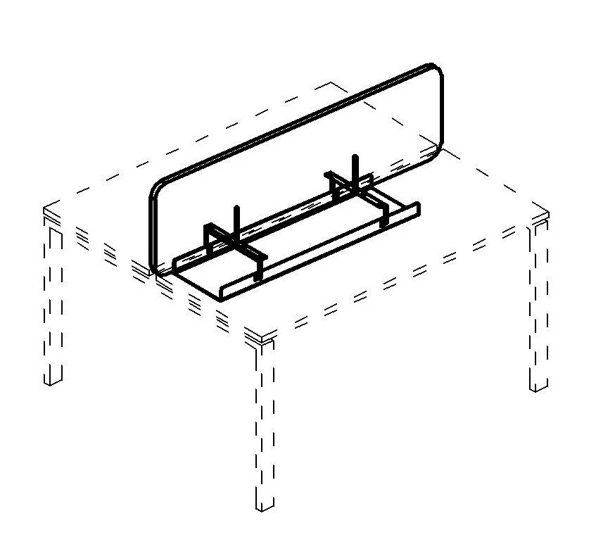 Экран настольный фронтальный тканевый с мягким наполнителем с широким кабель-каналом для стола 140