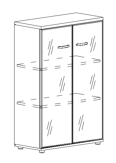 Шкаф средний со стеклом в алюминиевой рамке