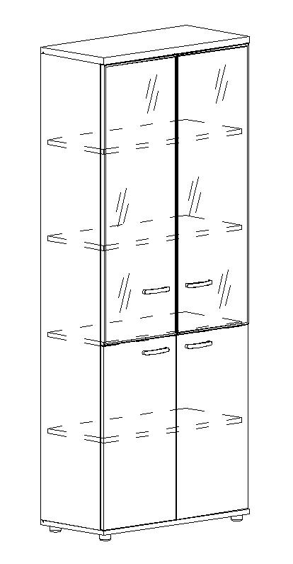 Шкаф для документов со стеклянными дверьми в алюминиевой рамке