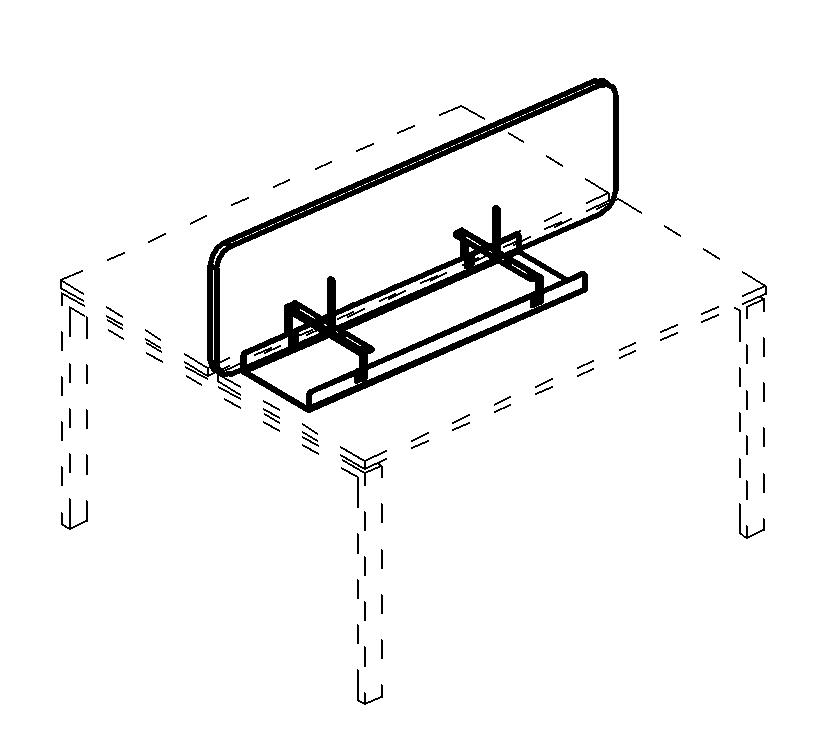 Экран настольный фронтальный тканевый с мягким наполнителем с широким кабель-каналом для стола 120