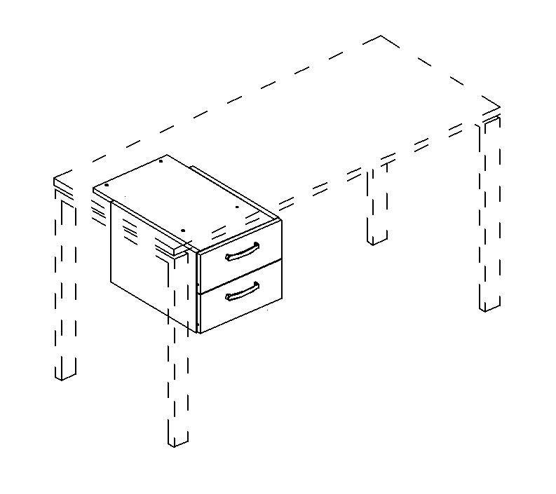 Тумба подвесная 2-ящичная (для стола 80)
