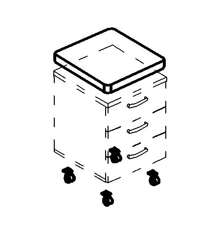 Мягкий элемент (подушка) в комплекте с усиленными колёсами для выкатной тумбы