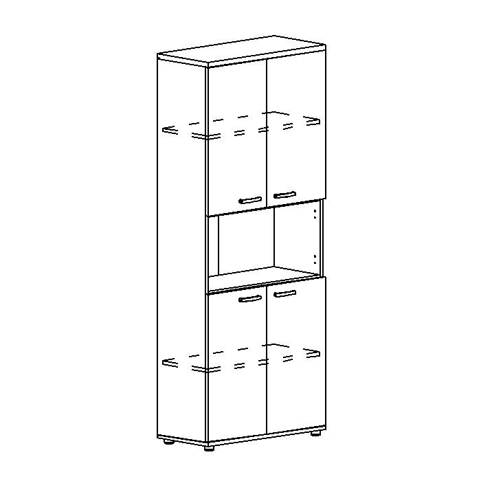Шкаф для документов 4-дверный с открытой нишей