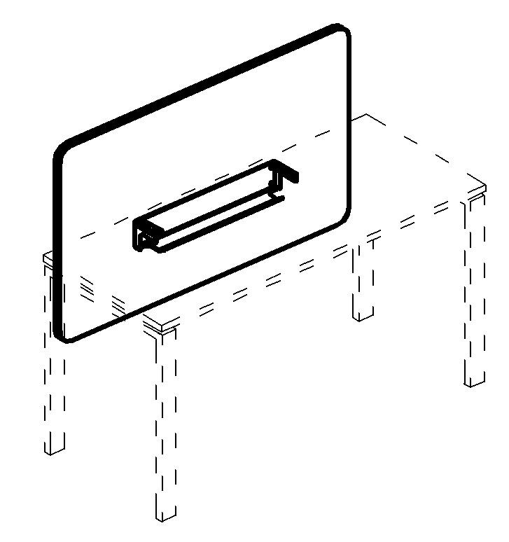 Экран настольный фронтальный тканевый с мягким наполнителем с кабель-каналом для стола 160