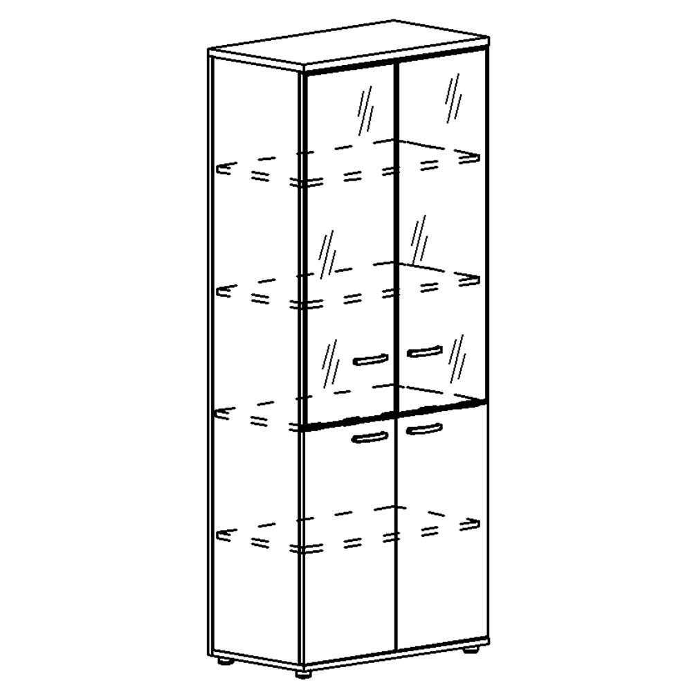Шкаф для документов со стеклянными дверьми в алюминиевой рамке (задняя стенка ДСП)