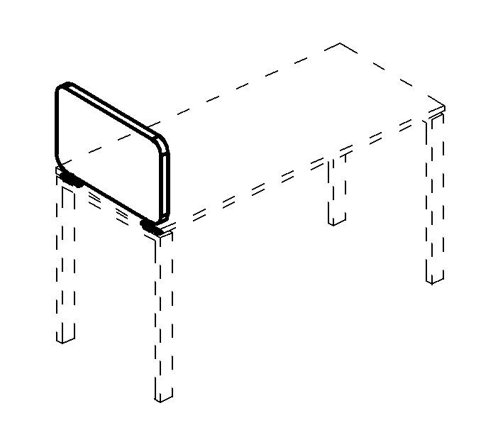 Экран настольный боковой тканевый с мягким наполнителем с кронштейнами