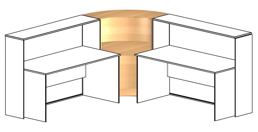 Угловой элемент промежуточный для столов глубиной 75см
