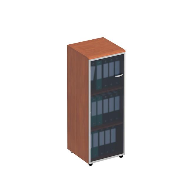 Шкаф для документов средний узкий со стеклянной дверью в рамке левый