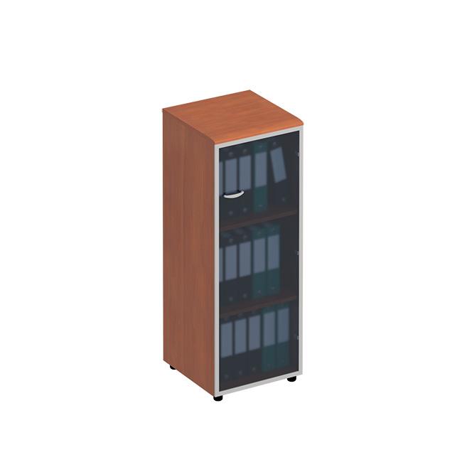 Шкаф для документов средний узкий со стеклянной дверью в рамке правый