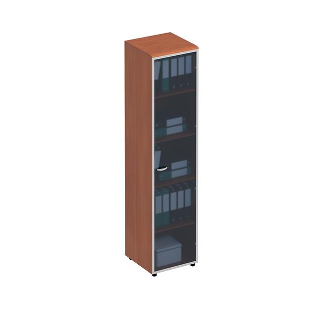 Шкаф для документов узкий с высокой стеклянной дверью в рамке