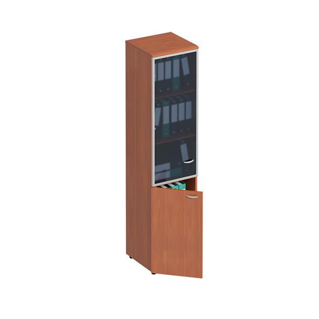 Шкаф для документов узкий со стеклянной дверью в рамке левый