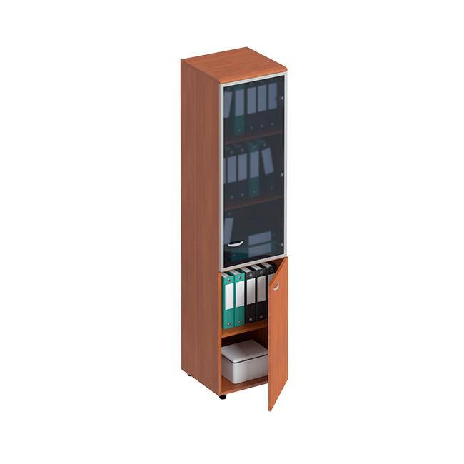 Шкаф для документов узкий со стеклянной дверью в рамке правый