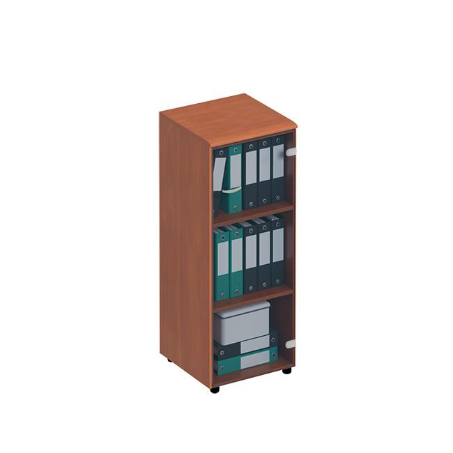 Шкаф для документов средний узкий со стеклянной тонированной дверью (левый/правый)