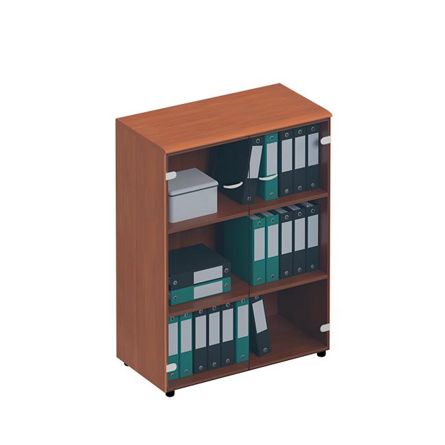 Шкаф для документов средний со стеклянными тонированными дверьми