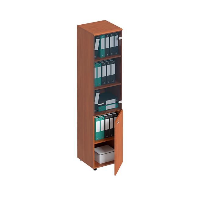 Шкаф для документов узкий со стеклянной тонированной дверью