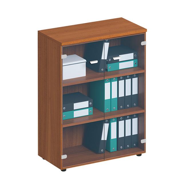 Шкаф для документов средний со стеклянными прозрачными дверьми