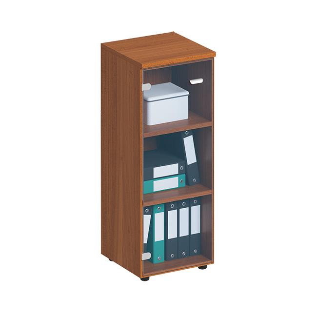 Шкаф для документов средний узкий со стеклянной прозрачной дверью