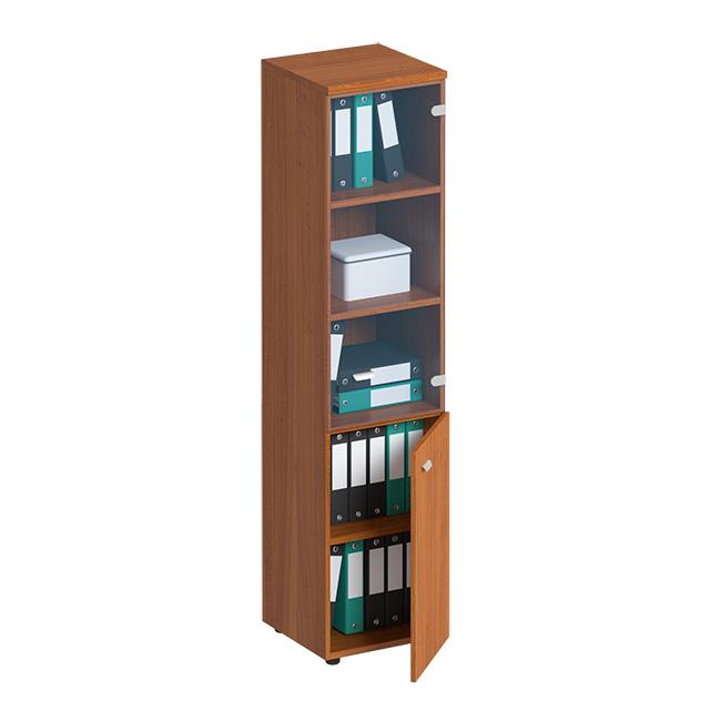 Шкаф для документов узкий со стеклянной прозрачной дверью