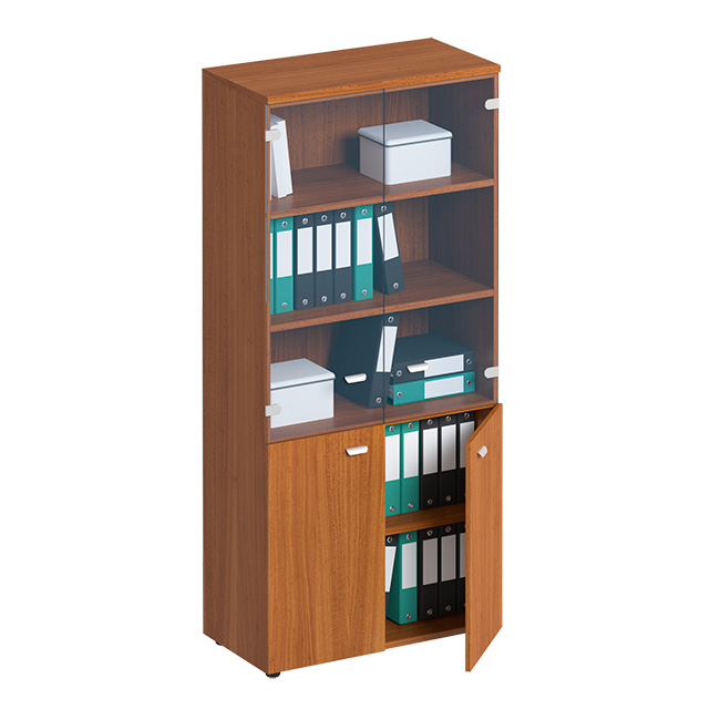 Шкаф для документов со стеклянными прозрачными дверьми