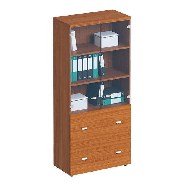 Шкаф для документов с ящиками со стеклянными прозрачными дверьми, с файлами подвесного хранения